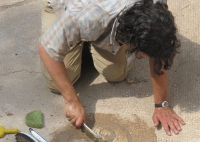 Cleaning a mosaic floor