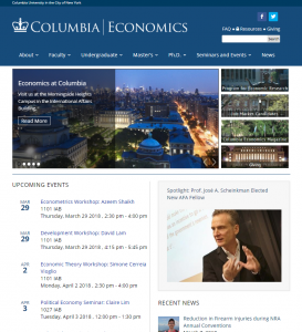 Columbia Economics Website Homepage