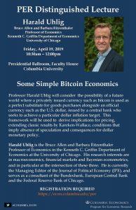 Harald Uhlig. Distinguished Lecture. April 2019 Poster