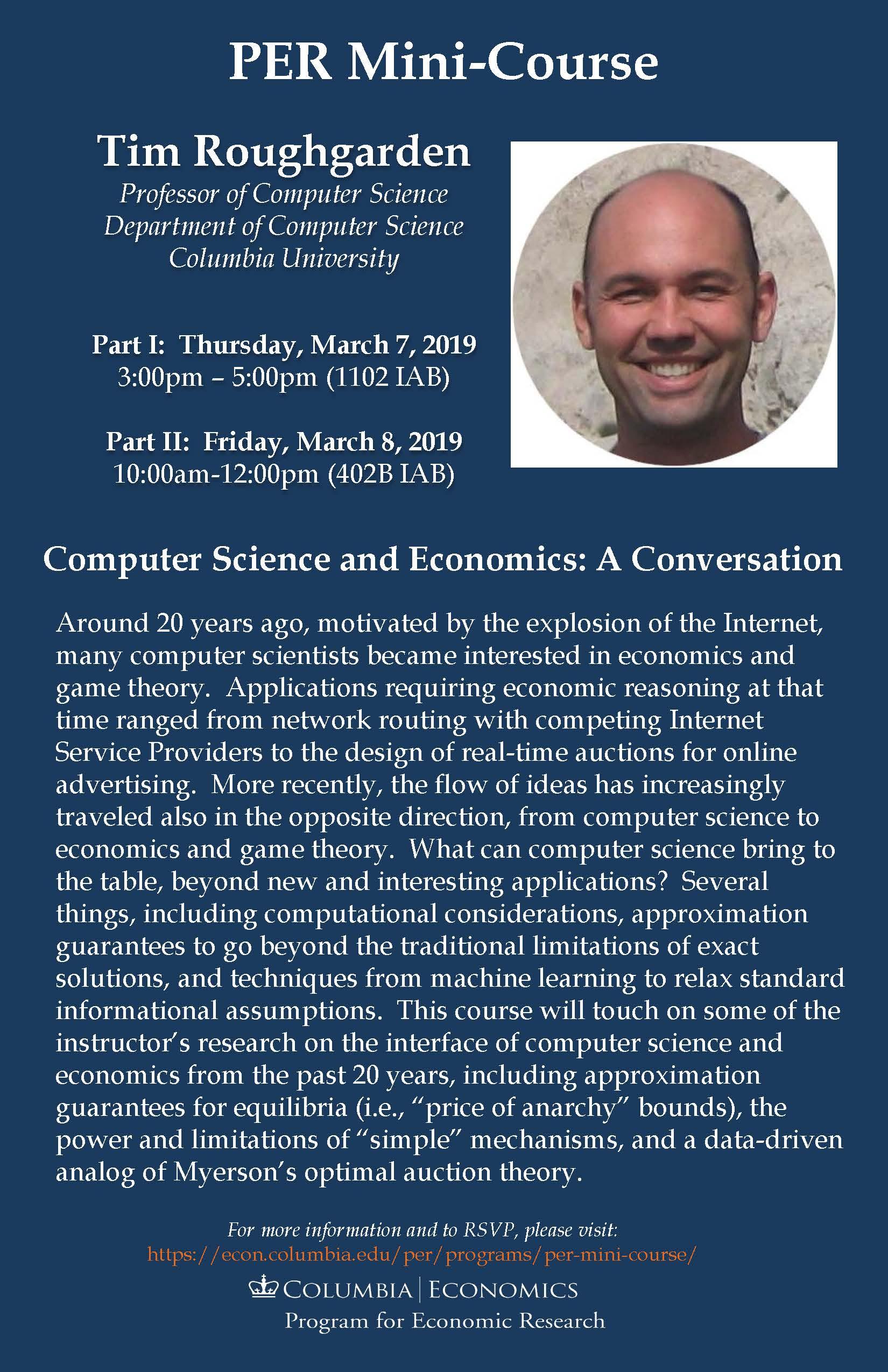 Tim Roughgarden. PER Mini Course. March 2019 Poster